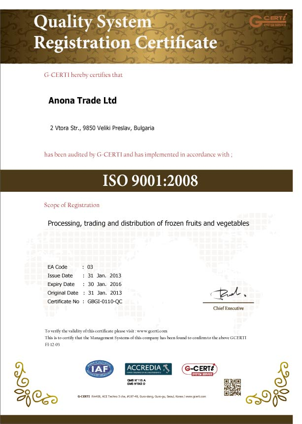 Quality certificate ISO